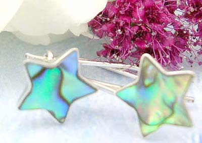 Afordable wholesale sterling silver jewelry shopping online sterling silver earrings with star shape and abalone
