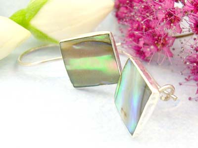 wholesale sterling silver jewelry making supply shopping store sterling silver earrings with square shape and abalone