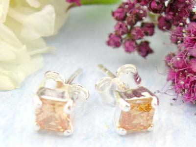 Online outlet mall sales square orange cz design with sterling silver earring