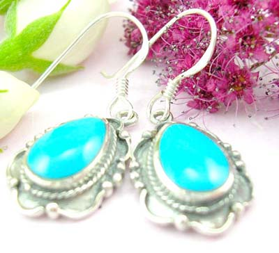 Bail jewelry shopping online sterling silver earring with rain-drop shape turquoise and wire decor around