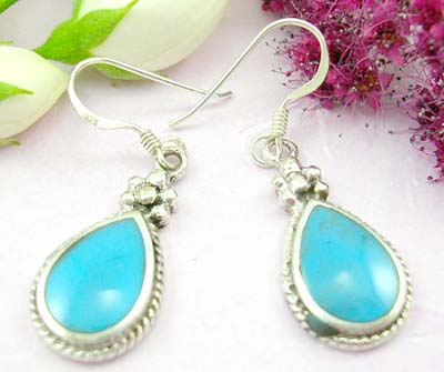 Tradional earring shopping sterling silver earring with water-drop turquoise and flower on top decor