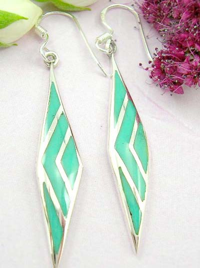 Shopping custom jewelry sterling silver earring with fish hook and long diamand shape with green turquoise